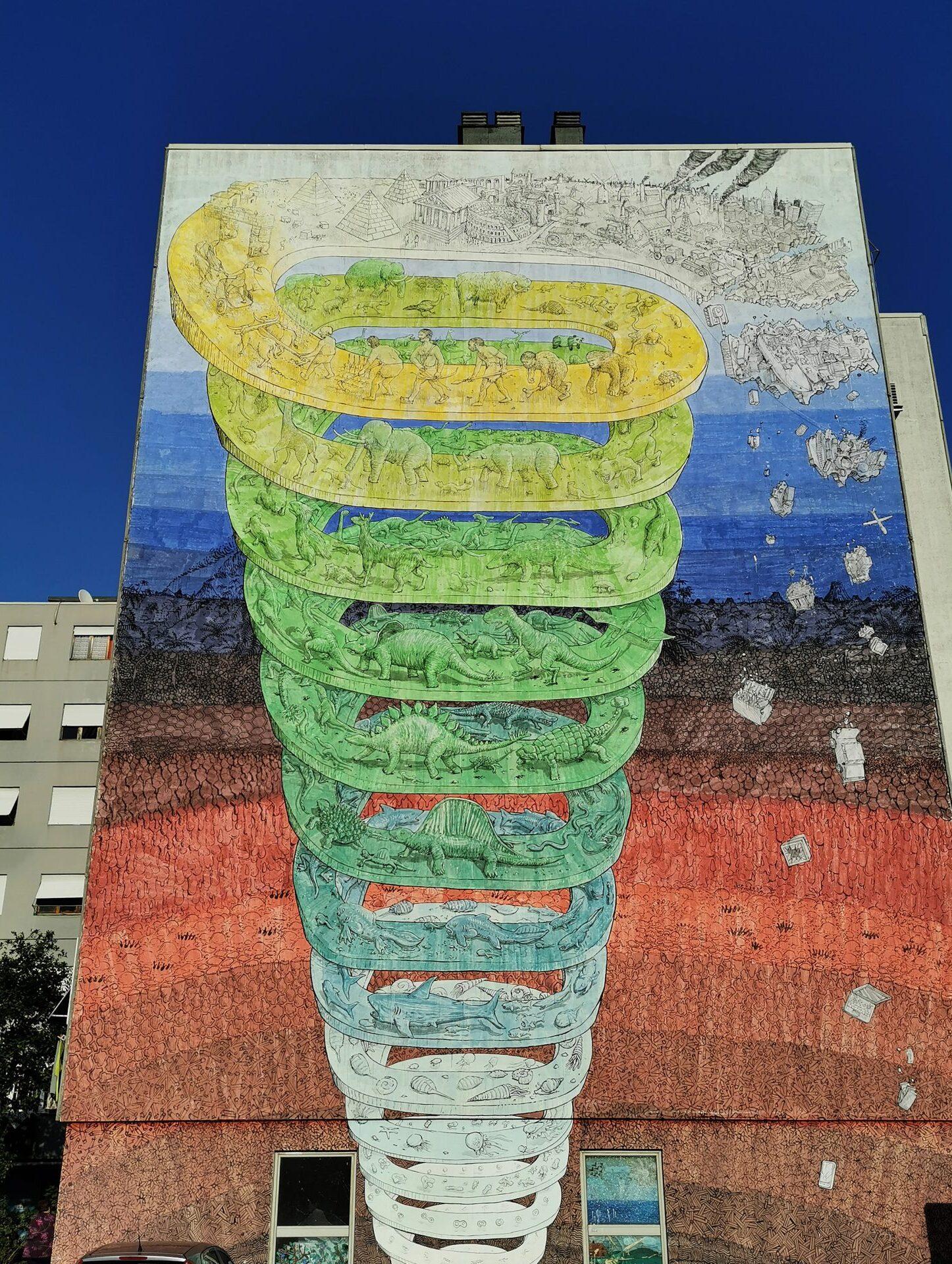 blu spirale della storia della terra Rebibbia